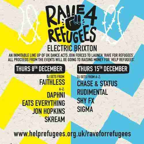 Rave For Refugees – Faithless, Jon Hopkins, Skream, Daphni + more
