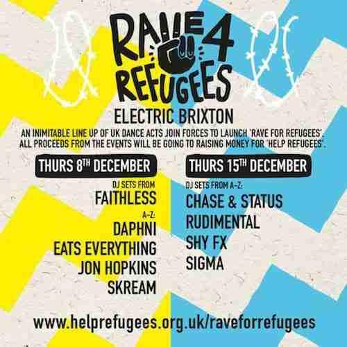 Rave For Refugees – Faithless, Jon Hopkins, Skream, Daphni + more