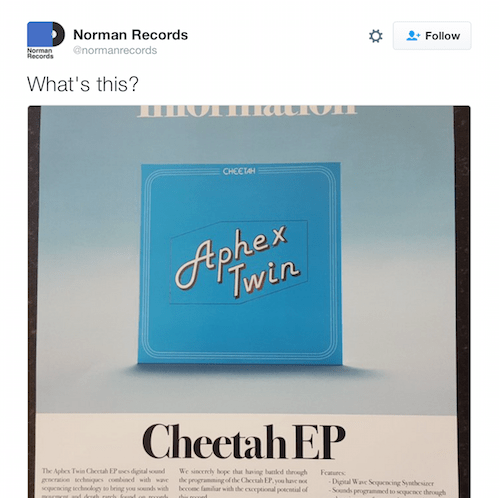 News: Aphex Twin – Cheetah EP (Warp Records)…